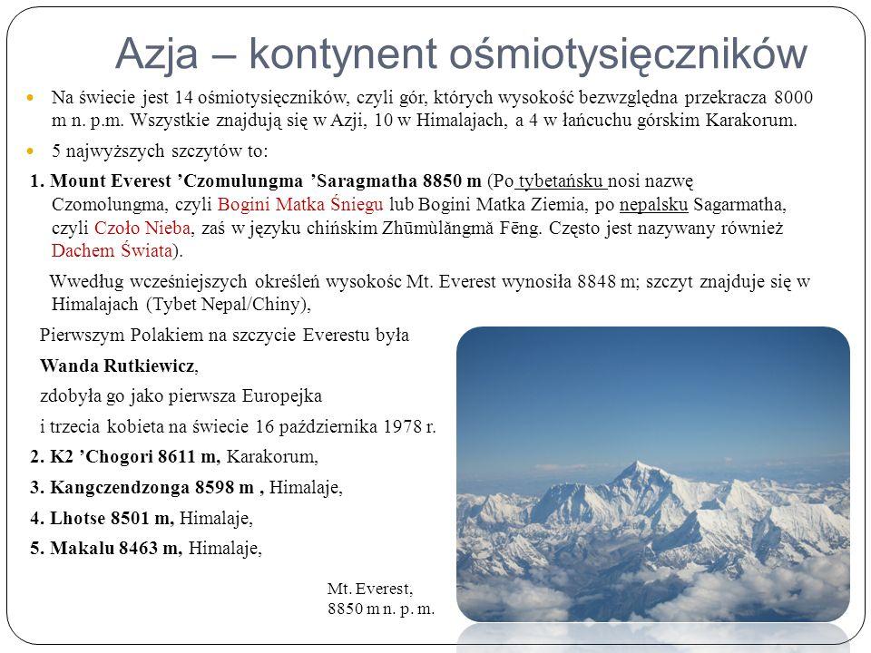 Azja – kontynent ośmiotysięczników Na świecie jest 14 ośmiotysięczników, czyli gór, których wysokość bezwzględna przekracza 8000 m n.