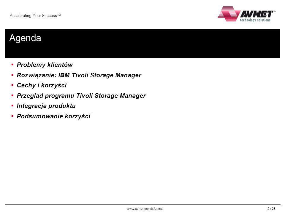 www.avnet.com/ts/emea Accelerating Your Success TM 23 / 25 Tivoli Storage Manager integruje się z IBM TotalStorage Productivity Center, umożliwiając pełne zarządzanie środowiskiem pamięci masowej IBM Tivoli Storage Manager i IBM TotalStorage Productivity Center mogą być zakupione razem w celu obsługi sieci SAN TotalStorage Productivity Center pozwala na: -Monitorowanie i śledzenie wydajności podłączonych w sieci SAN urządzeń pamięci masowych zgodnych z SMI-S -Zarządzanie wykorzystaniem pojemnością i dostępnością systemów plików i baz danych -Monitoruje, zarządza i kontroluje komponenty sieci SAN -Zarządza zaawansowanymi usługami replikacji pamięci masowej (PPRC i FlashCopy®) -Automatyzuje udostępnianie pamięci masowej, pomagając zwiększyć dostępność aplikacji Integracja produktu Rozwiązania Tivoli dobrze integrują się ze sobą oraz ze sprzętem i oprogramowaniem IBM.