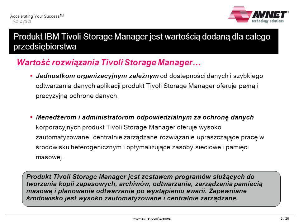 www.avnet.com/ts/emea Accelerating Your Success TM 17 / 25 IBM System Storage Archive Manager Przegląd programu Tivoli Storage Manager Pomaga w spełnieniu wymagań dotyczących czasu przechowywania danych wynikających z przepisów prawa lub przyjętych strategii Chroni dane, nie pozwalając na jawne ich usunięcie przed upłynięciem określonego czasu przechowywania Zarządza danymi, wykorzystując strategie czasu przechowywania i procesy utraty ważności Pozwala wybrać miejsce przechowywania danych dzięki dużej liczbie obsługiwanych urządzeń Współpracuje z aplikacjami zarządzającymi treścią w korporacji i aplikacjami archiwizującymi w celu ułatwienia odtwarzania danych Rozbudowuje produkt Tivoli Storage Manager Extended Edition o nowe funkcje API dotyczące archiwizacji Chronologiczna strategia czasu przechowywania: Obiekty są przechowywane przez określony czas, na przykład 7 lat Ochrona w oparciu o zdarzenia: Obiekty będą usuwane dopiero po spełnieniu kryterium wykorzystującego zdarzenia, na przykład śmierć właściciela strategii Blokada usuwania: Obiekty nie będą usuwane przed usunięciem blokady usuwania, na przykład przed zakończeniem rozprawy sądowej