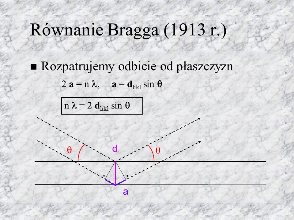 Równanie Bragga (1913 r.) Rozpatrujemy odbicie od płaszczyzn d a 2 a = n, a = d hkl sin n = 2 d hkl sin