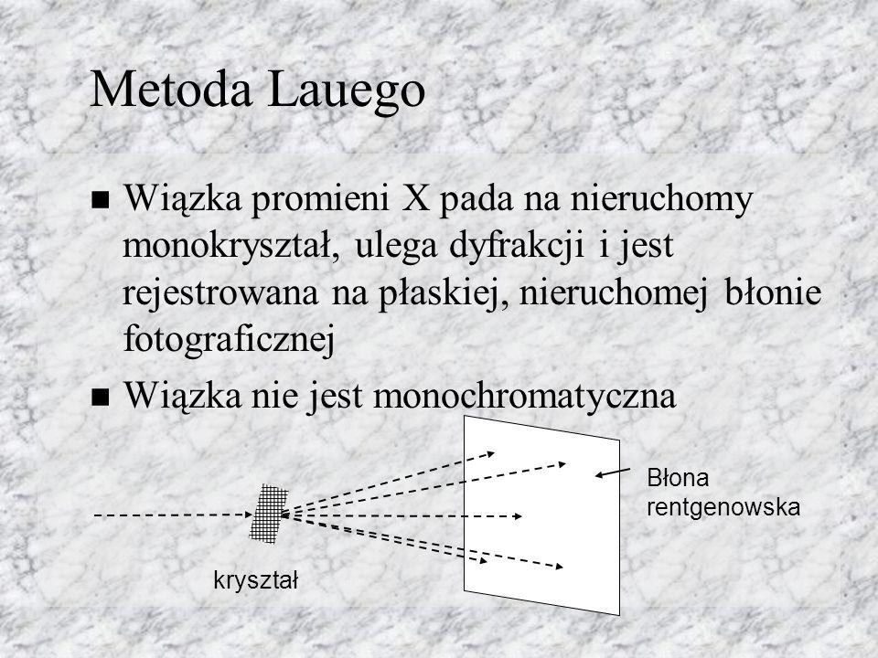 Metoda Lauego Wiązka promieni X pada na nieruchomy monokryształ, ulega dyfrakcji i jest rejestrowana na płaskiej, nieruchomej błonie fotograficznej Wiązka nie jest monochromatyczna kryształ Błona rentgenowska