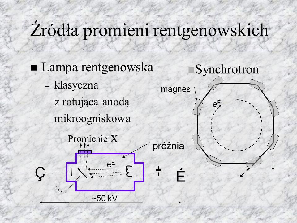 Źródła promieni rentgenowskich Lampa rentgenowska – klasyczna – z rotującą anodą – mikroogniskowa Ç É ~50 kV eÉeÉ próżnia Promienie X Synchrotron eÉeÉ magnes