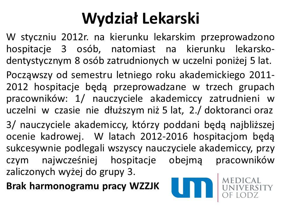 Wydział Lekarski W styczniu 2012r.