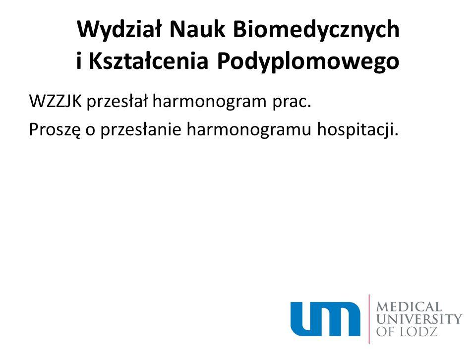 Wydział Nauk Biomedycznych i Kształcenia Podyplomowego WZZJK przesłał harmonogram prac.