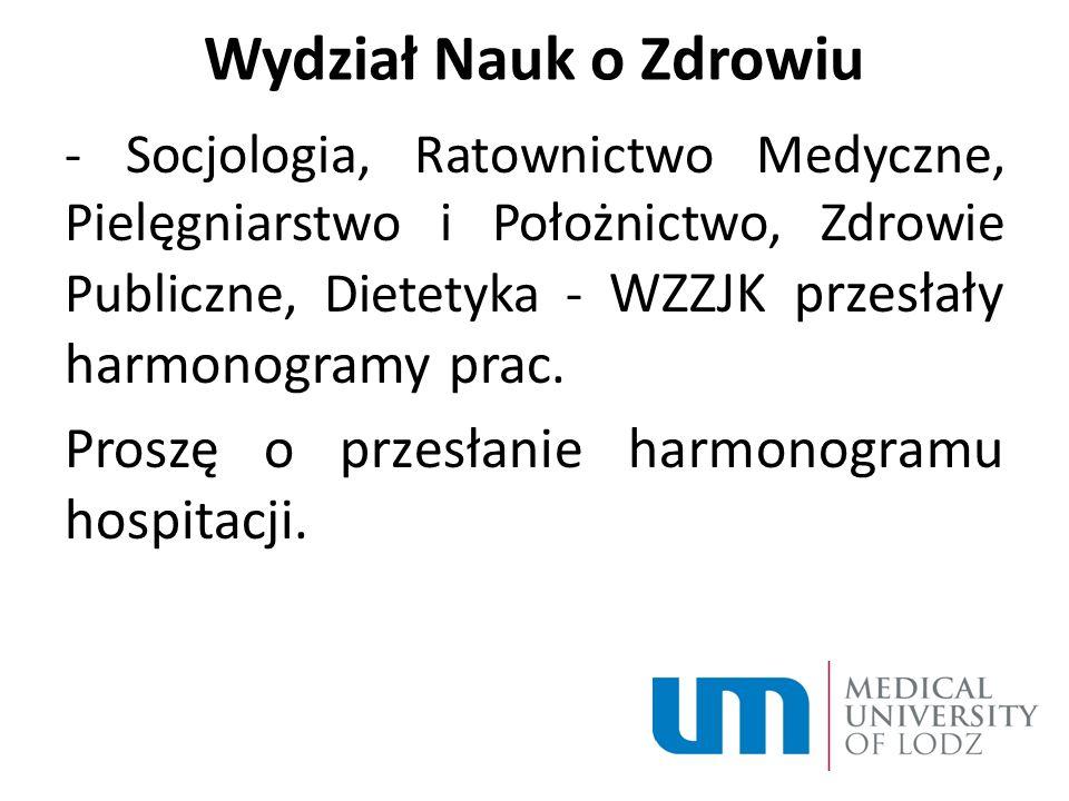 Wydział Nauk o Zdrowiu - Socjologia, Ratownictwo Medyczne, Pielęgniarstwo i Położnictwo, Zdrowie Publiczne, Dietetyka - WZZJK przesłały harmonogramy prac.