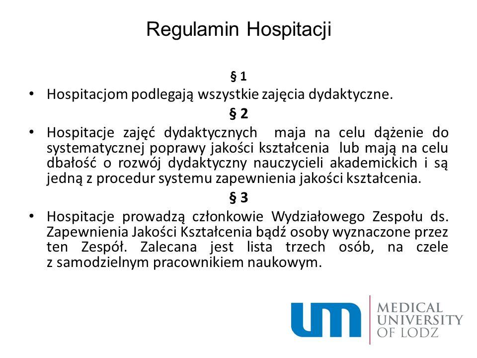 Regulamin Hospitacji § 1 Hospitacjom podlegają wszystkie zajęcia dydaktyczne.