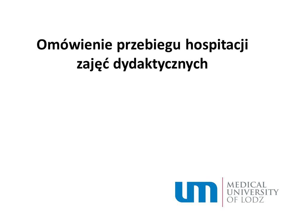 Omówienie przebiegu hospitacji zajęć dydaktycznych