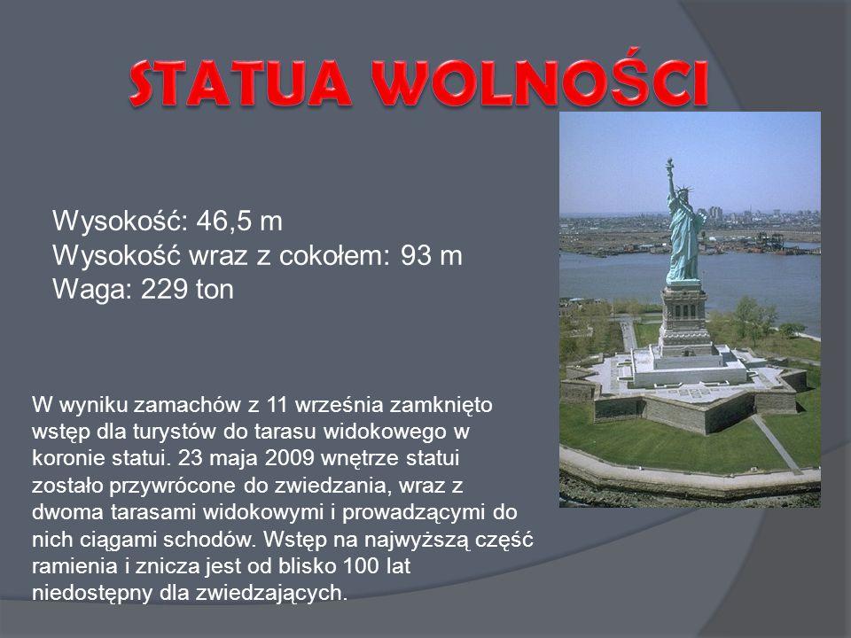 W wyniku zamachów z 11 września zamknięto wstęp dla turystów do tarasu widokowego w koronie statui. 23 maja 2009 wnętrze statui zostało przywrócone do