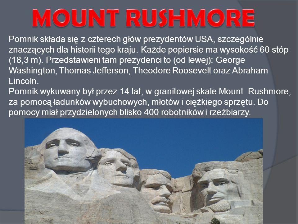 Pomnik składa się z czterech głów prezydentów USA, szczególnie znaczących dla historii tego kraju. Każde popiersie ma wysokość 60 stóp (18,3 m). Przed