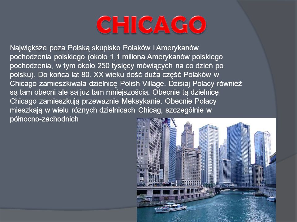 Największe poza Polską skupisko Polaków i Amerykanów pochodzenia polskiego (około 1,1 miliona Amerykanów polskiego pochodzenia, w tym około 250 tysięc