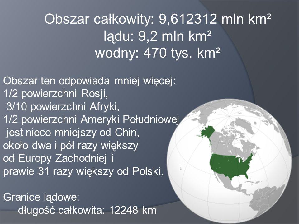 Obszar całkowity: 9,612312 mln km² lądu: 9,2 mln km² wodny: 470 tys. km² Obszar ten odpowiada mniej więcej: 1/2 powierzchni Rosji, 3/10 powierzchni Af