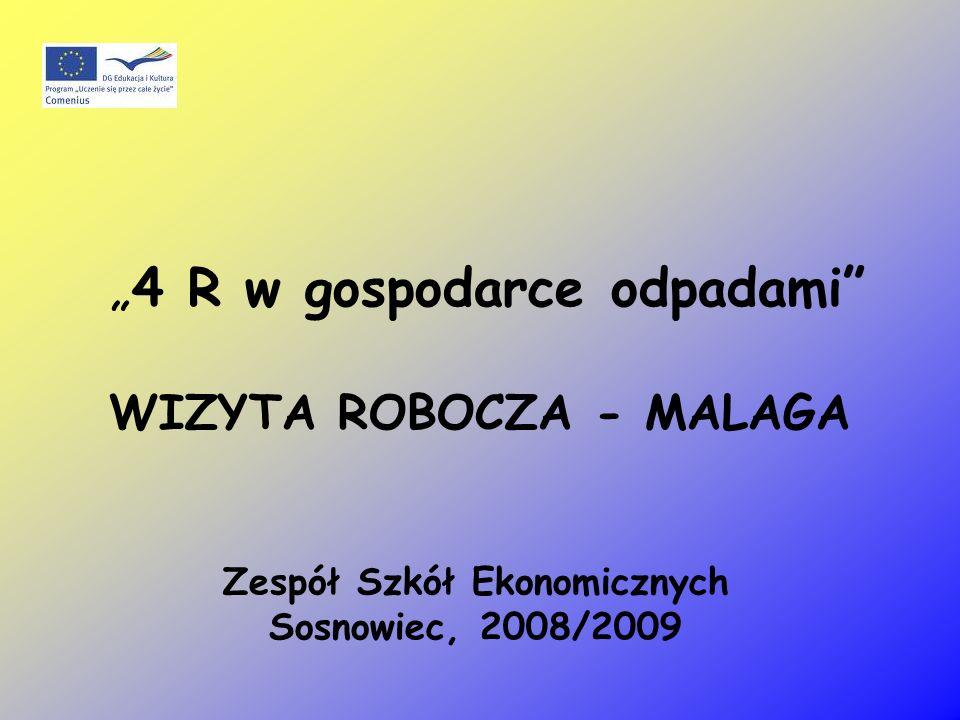 4 R w gospodarce odpadami WIZYTA ROBOCZA - MALAGA Zespół Szkół Ekonomicznych Sosnowiec, 2008/2009