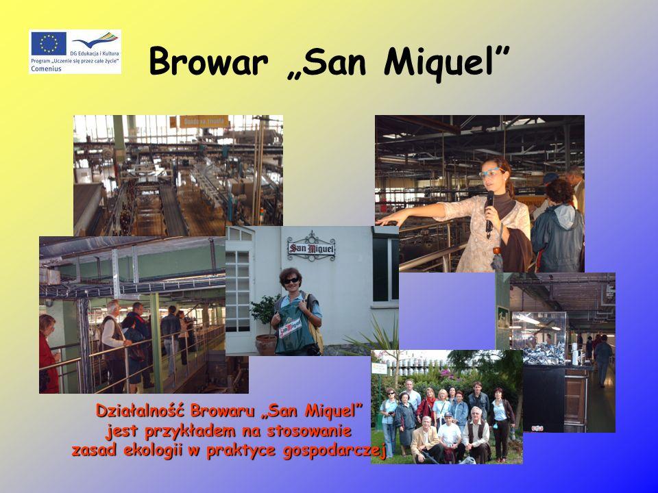 Browar San Miquel Działalność Browaru San Miquel jest przykładem na stosowanie jest przykładem na stosowanie zasad ekologii w praktyce gospodarczej