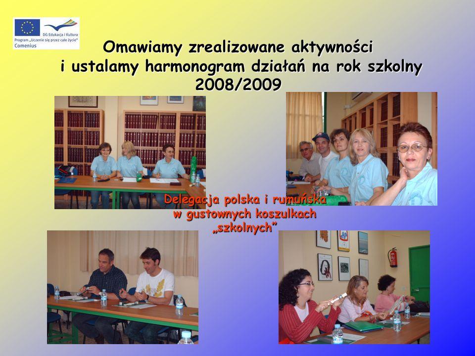 Omawiamy zrealizowane aktywności i ustalamy harmonogram działań na rok szkolny 2008/2009 Delegacja polska i rumuńska w gustownych koszulkach szkolnych