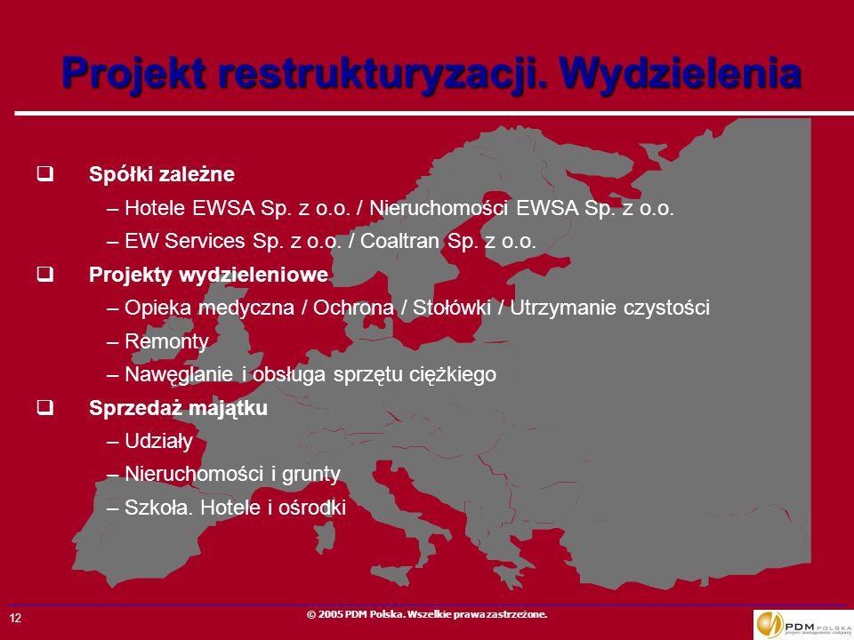 12 © 2005 PDM Polska. Wszelkie prawa zastrzeżone. Projekt restrukturyzacji. Wydzielenia Spółki zależne –Hotele EWSA Sp. z o.o. / Nieruchomości EWSA Sp