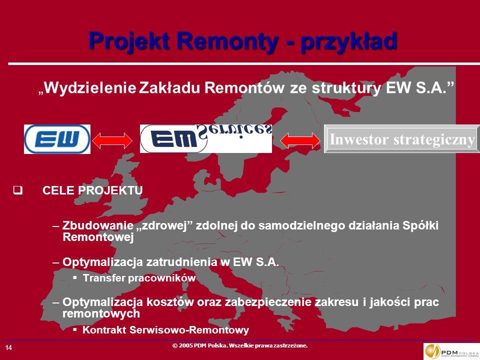 14 © 2005 PDM Polska. Wszelkie prawa zastrzeżone. Projekt Remonty - przykład Wydzielenie Zakładu Remontów ze struktury EW S.A. CELE PROJEKTU –Zbudowan