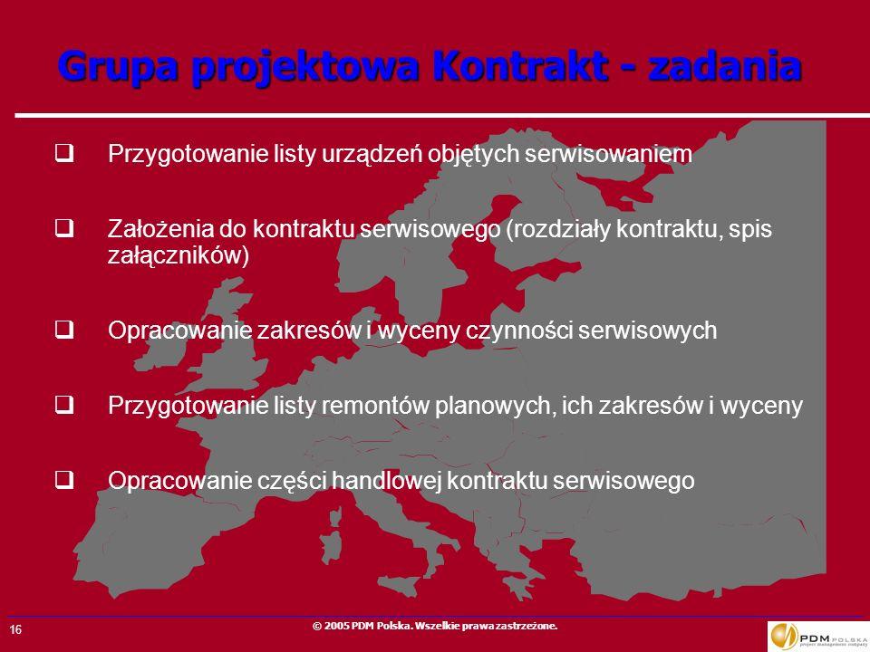 16 © 2005 PDM Polska. Wszelkie prawa zastrzeżone. Przygotowanie listy urządzeń objętych serwisowaniem Założenia do kontraktu serwisowego (rozdziały ko