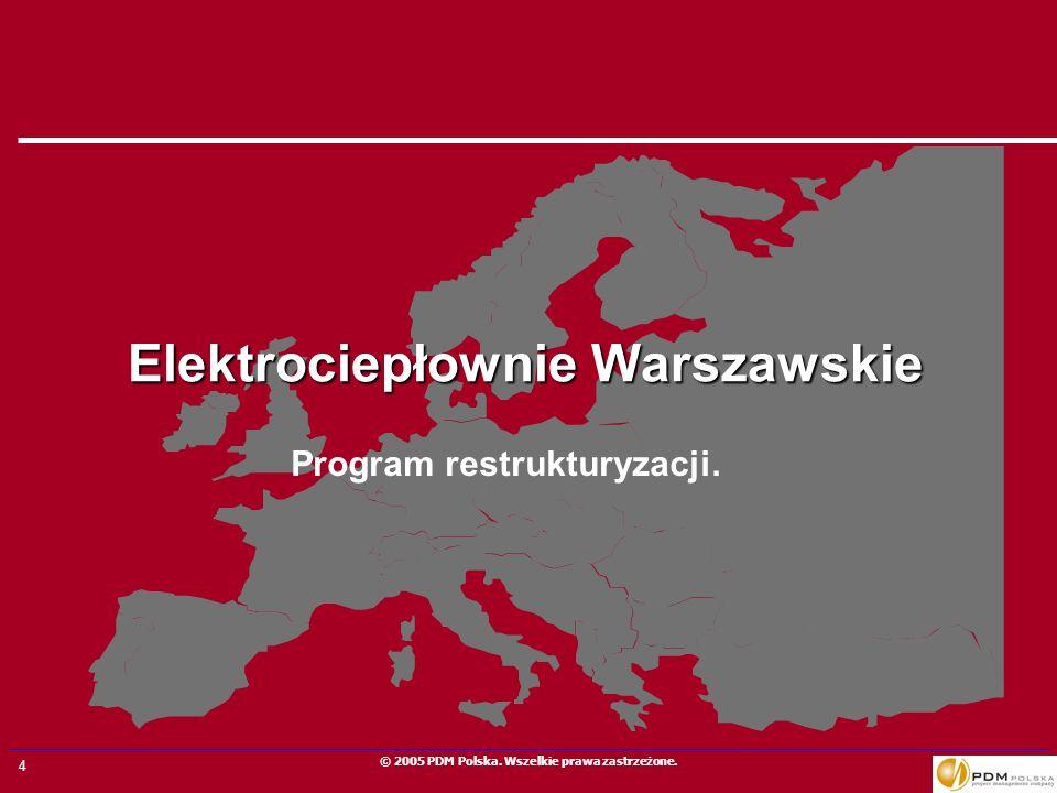 4 © 2005 PDM Polska. Wszelkie prawa zastrzeżone. Elektrociepłownie Warszawskie Program restrukturyzacji.