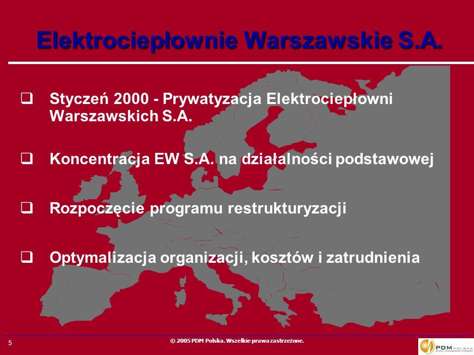 5 © 2005 PDM Polska. Wszelkie prawa zastrzeżone. Elektrociepłownie Warszawskie S.A. Styczeń 2000 - Prywatyzacja Elektrociepłowni Warszawskich S.A. Kon
