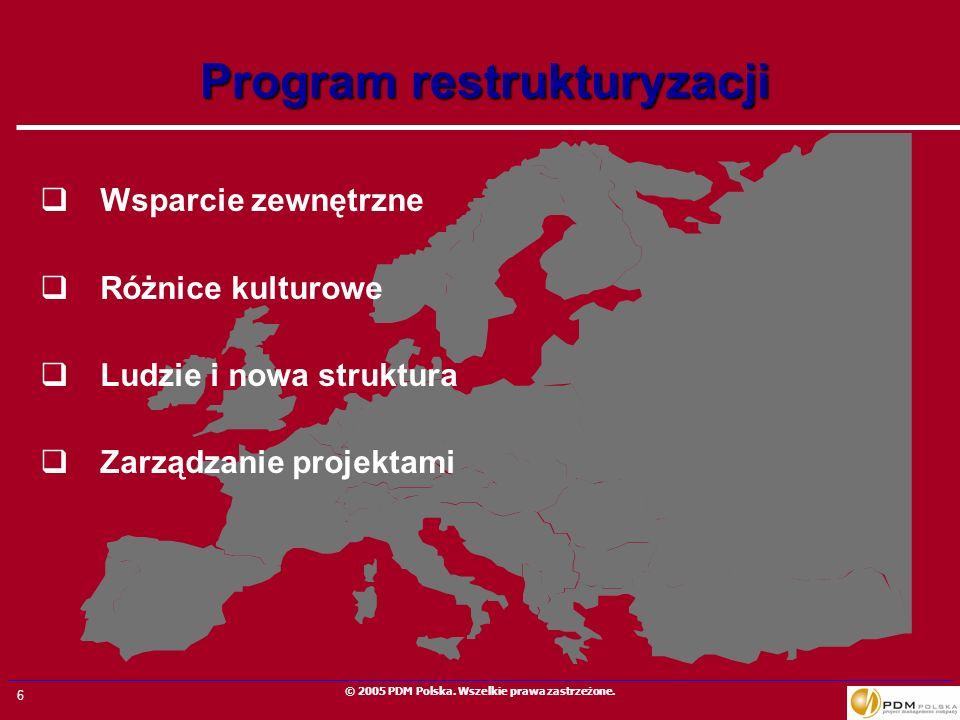 6 © 2005 PDM Polska. Wszelkie prawa zastrzeżone. Program restrukturyzacji Wsparcie zewnętrzne Różnice kulturowe Ludzie i nowa struktura Zarządzanie pr