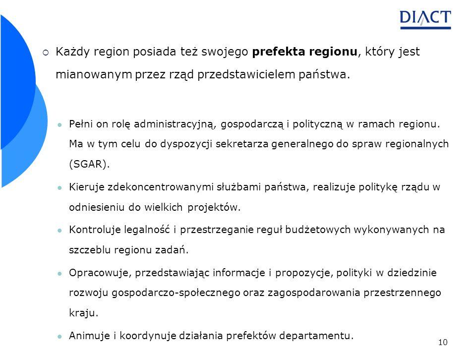 10 Każdy region posiada też swojego prefekta regionu, który jest mianowanym przez rząd przedstawicielem państwa.