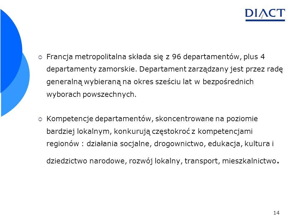 14 Francja metropolitalna składa się z 96 departamentów, plus 4 departamenty zamorskie. Departament zarządzany jest przez radę generalną wybieraną na
