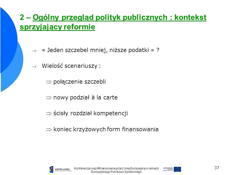 37 2 – Ogólny przegląd polityk publicznych : kontekst sprzyjający reformie « Jeden szczebel mniej, niższe podatki » ? Wielość scenariuszy : połączenie