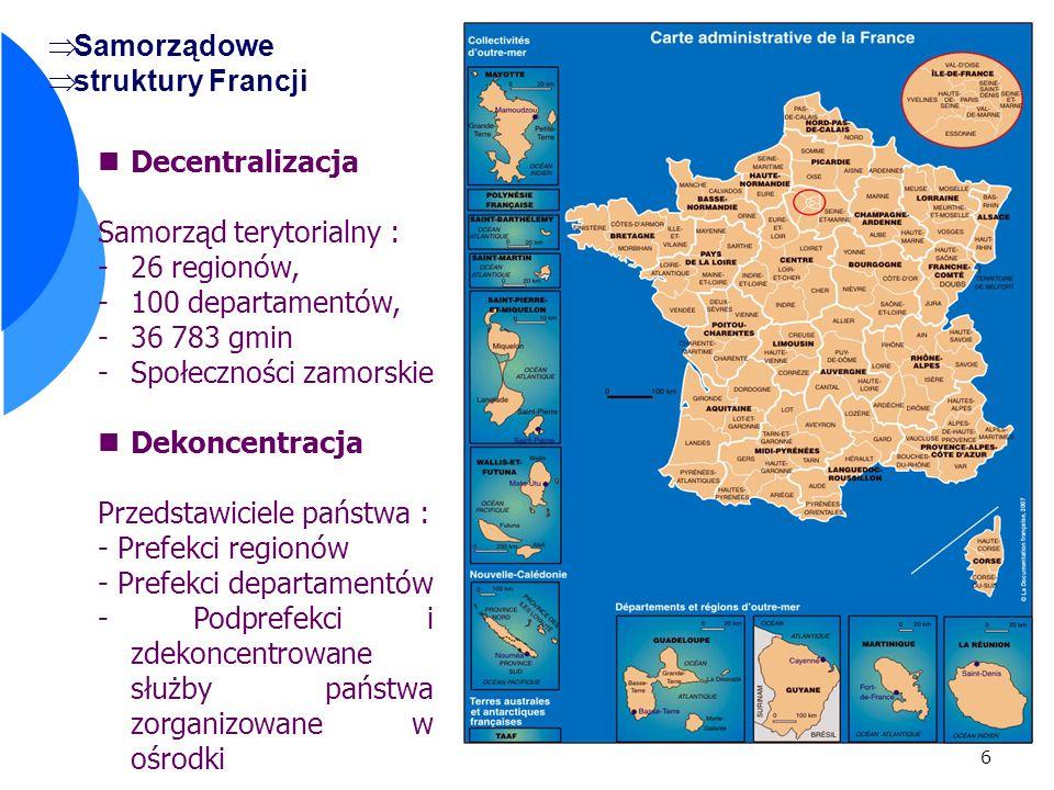 6 Samorządowe struktury Francji Decentralizacja Samorząd terytorialny : -26 regionów, -100 departamentów, -36 783 gmin -Społeczności zamorskie Dekoncentracja Przedstawiciele państwa : - Prefekci regionów - Prefekci departamentów - Podprefekci i zdekoncentrowane służby państwa zorganizowane w ośrodki