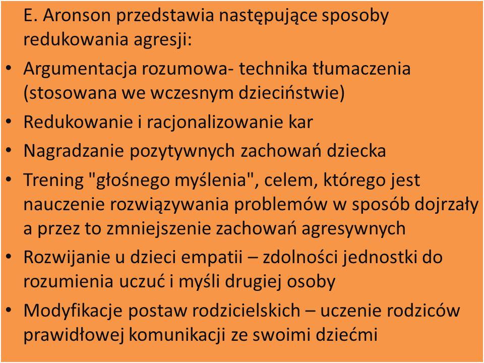 E. Aronson przedstawia następujące sposoby redukowania agresji: Argumentacja rozumowa- technika tłumaczenia (stosowana we wczesnym dzieciństwie) Reduk