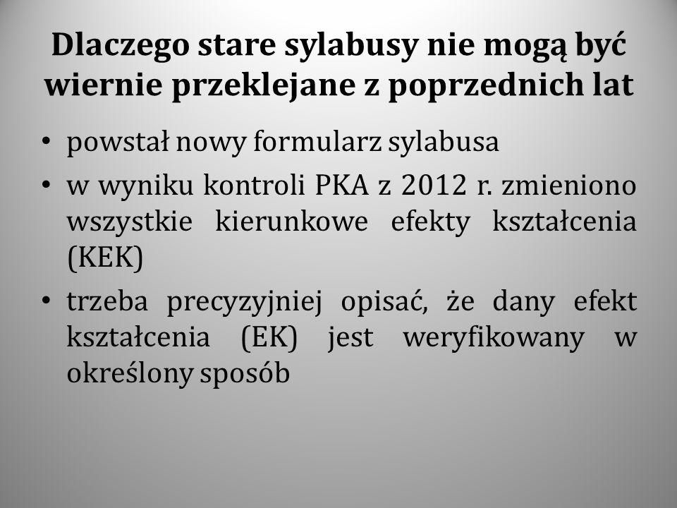 Dlaczego stare sylabusy nie mogą być wiernie przeklejane z poprzednich lat powstał nowy formularz sylabusa w wyniku kontroli PKA z 2012 r. zmieniono w
