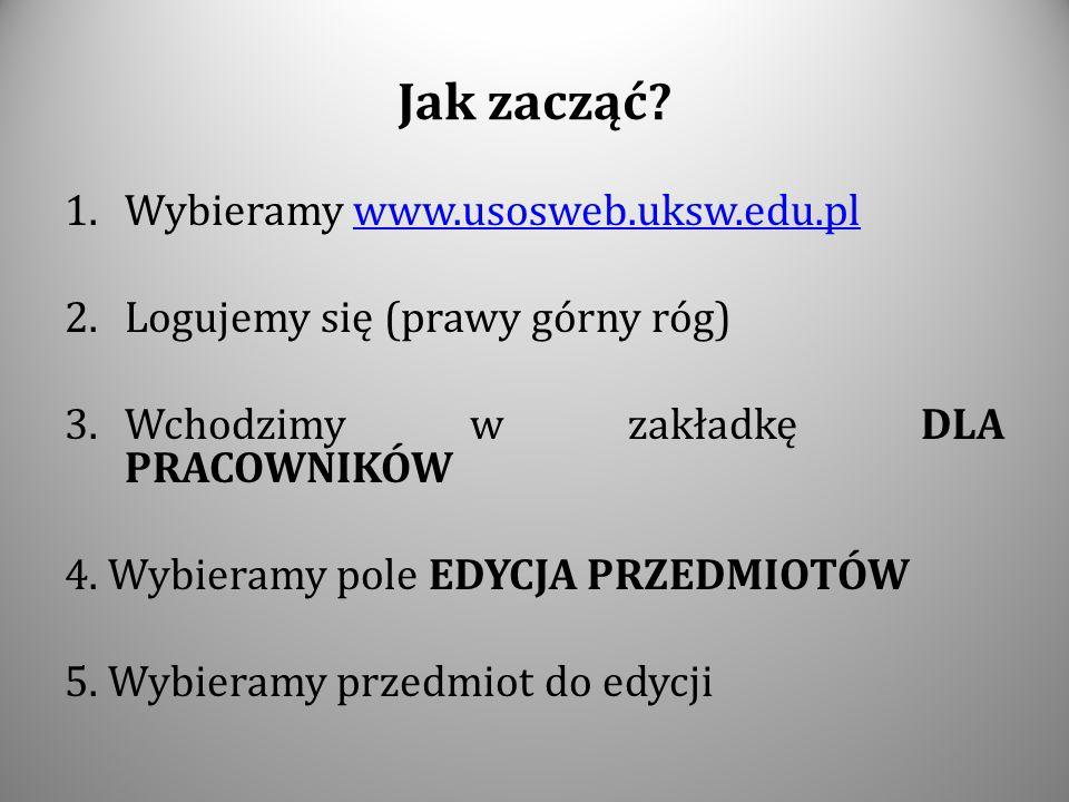 Jak zacząć? 1.Wybieramy www.usosweb.uksw.edu.plwww.usosweb.uksw.edu.pl 2.Logujemy się (prawy górny róg) 3.Wchodzimy w zakładkę DLA PRACOWNIKÓW 4. Wybi