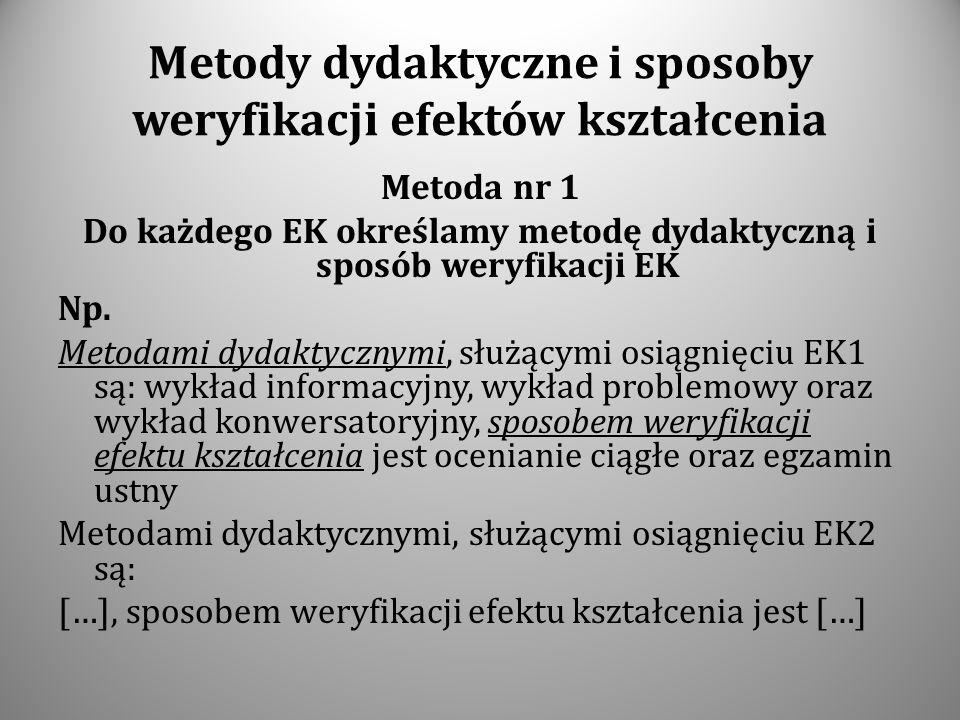 Metody dydaktyczne i sposoby weryfikacji efektów kształcenia Metoda nr 1 Do każdego EK określamy metodę dydaktyczną i sposób weryfikacji EK Np. Metoda