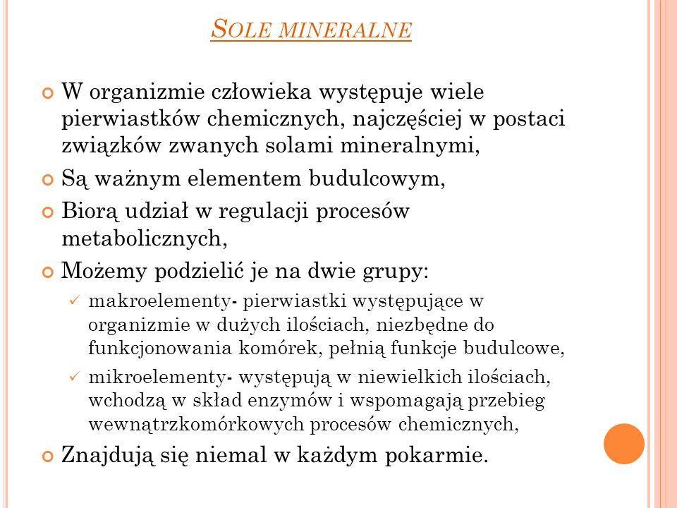 S OLE MINERALNE W organizmie człowieka występuje wiele pierwiastków chemicznych, najczęściej w postaci związków zwanych solami mineralnymi, Są ważnym