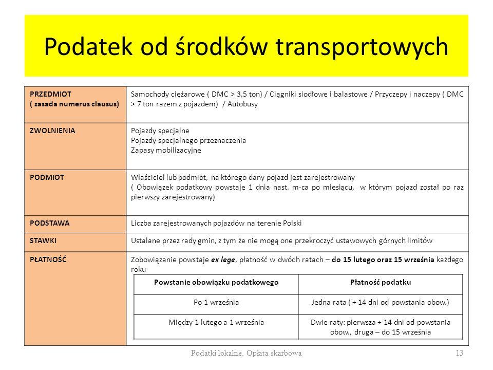 Podatek od środków transportowych PRZEDMIOT ( zasada numerus clausus) Samochody ciężarowe ( DMC > 3,5 ton) / Ciągniki siodłowe i balastowe / Przyczepy i naczepy ( DMC > 7 ton razem z pojazdem) / Autobusy ZWOLNIENIAPojazdy specjalne Pojazdy specjalnego przeznaczenia Zapasy mobilizacyjne PODMIOTWłaściciel lub podmiot, na którego dany pojazd jest zarejestrowany ( Obowiązek podatkowy powstaje 1 dnia nast.