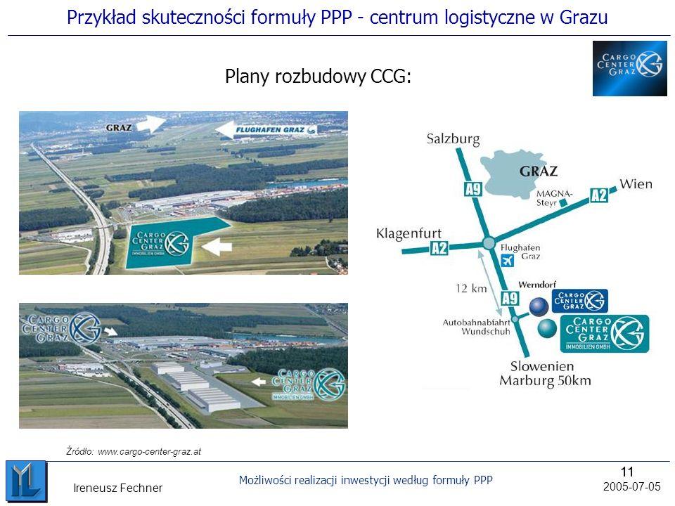 11 Możliwości realizacji inwestycji według formuły PPP 2005-07-05 Ireneusz Fechner Plany rozbudowy CCG: Źródło: www.cargo-center-graz.at Przykład skuteczności formuły PPP - centrum logistyczne w Grazu
