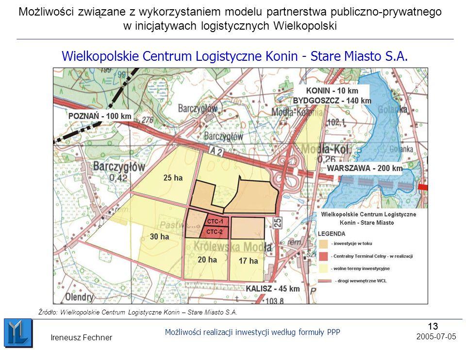 13 Możliwości realizacji inwestycji według formuły PPP 2005-07-05 Ireneusz Fechner Źródło: Wielkopolskie Centrum Logistyczne Konin – Stare Miasto S.A.