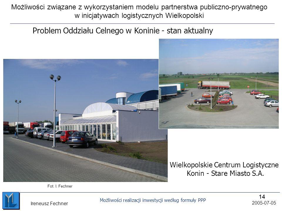 14 Możliwości realizacji inwestycji według formuły PPP 2005-07-05 Ireneusz Fechner Wielkopolskie Centrum Logistyczne Konin - Stare Miasto S.A.