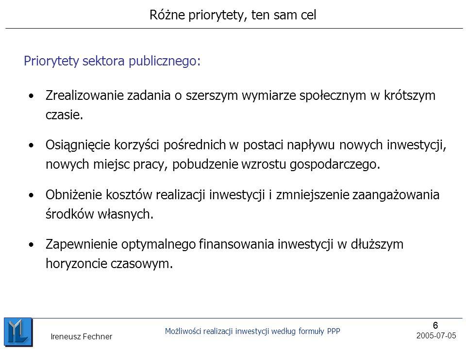 66 Możliwości realizacji inwestycji według formuły PPP 2005-07-05 Ireneusz Fechner Różne priorytety, ten sam cel Zrealizowanie zadania o szerszym wymiarze społecznym w krótszym czasie.