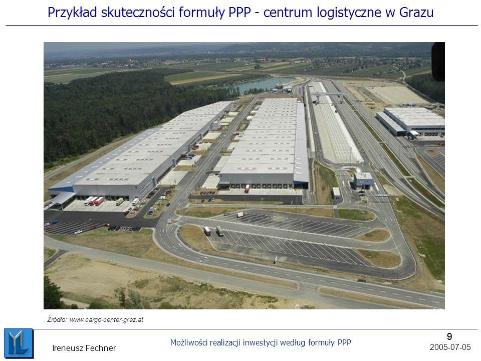 99 Możliwości realizacji inwestycji według formuły PPP 2005-07-05 Ireneusz Fechner Przykład skuteczności formuły PPP - centrum logistyczne w Grazu Źródło: www.cargo-center-graz.at