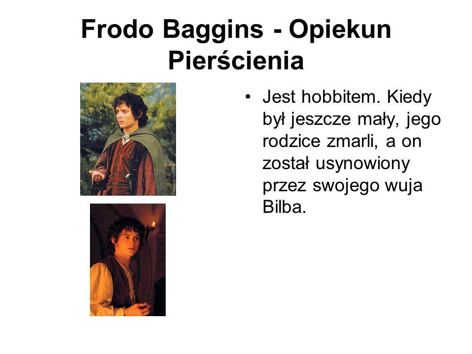 Frodo Baggins - Opiekun Pierścienia Jest hobbitem. Kiedy był jeszcze mały, jego rodzice zmarli, a on został usynowiony przez swojego wuja Bilba.
