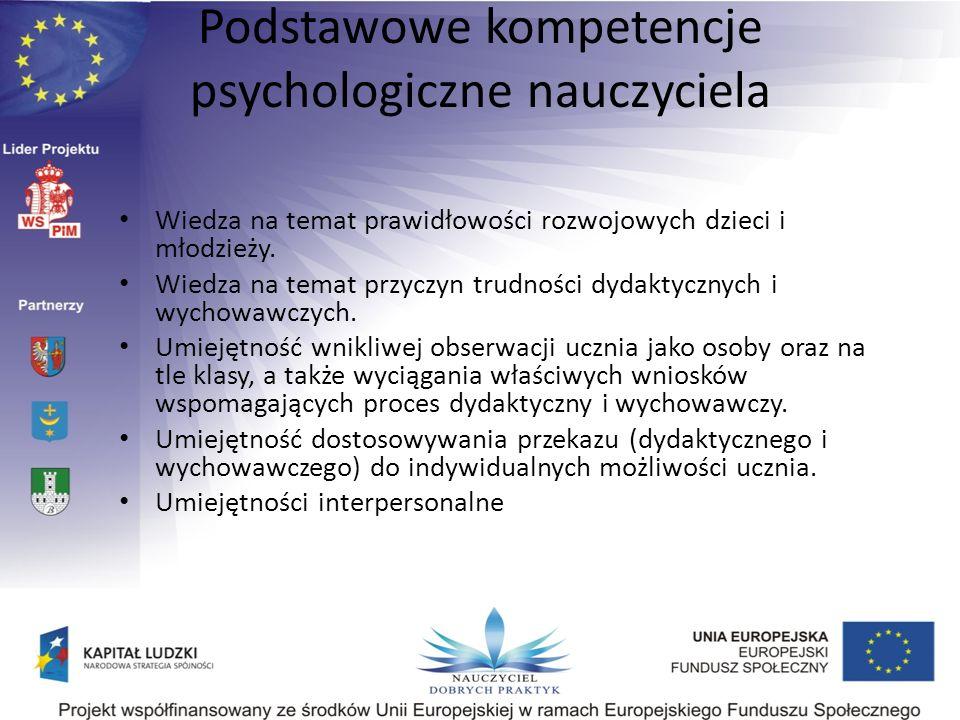 Podstawowe kompetencje psychologiczne nauczyciela Wiedza na temat prawidłowości rozwojowych dzieci i młodzieży. Wiedza na temat przyczyn trudności dyd