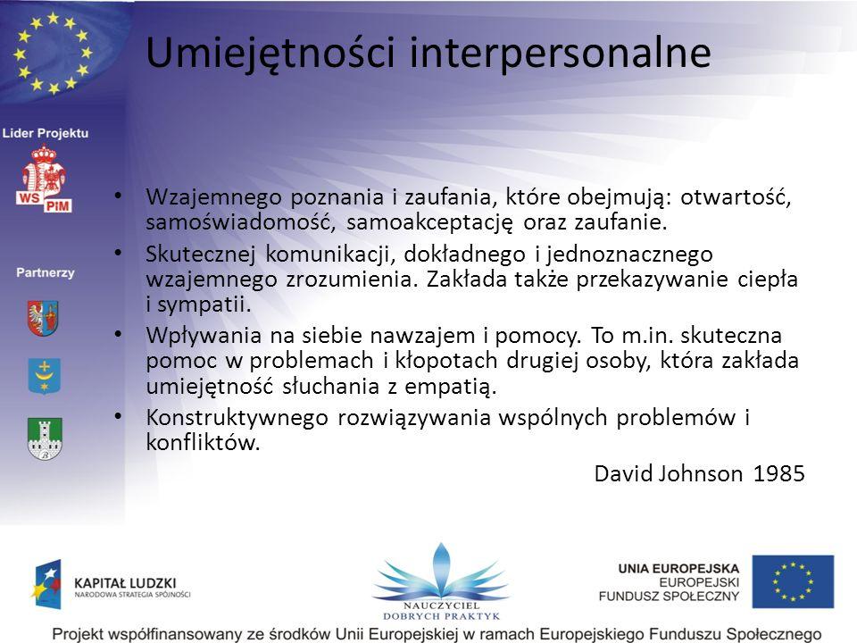 Wzajemnego poznania i zaufania, które obejmują: otwartość, samoświadomość, samoakceptację oraz zaufanie. Skutecznej komunikacji, dokładnego i jednozna