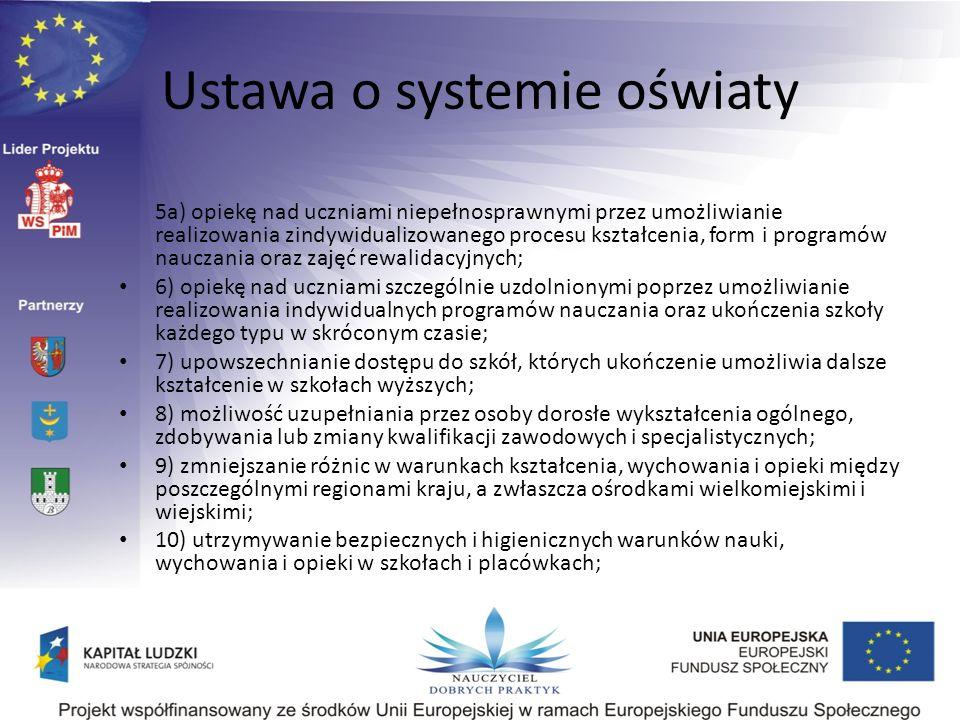 Ustawa o systemie oświaty 5a) opiekę nad uczniami niepełnosprawnymi przez umożliwianie realizowania zindywidualizowanego procesu kształcenia, form i p