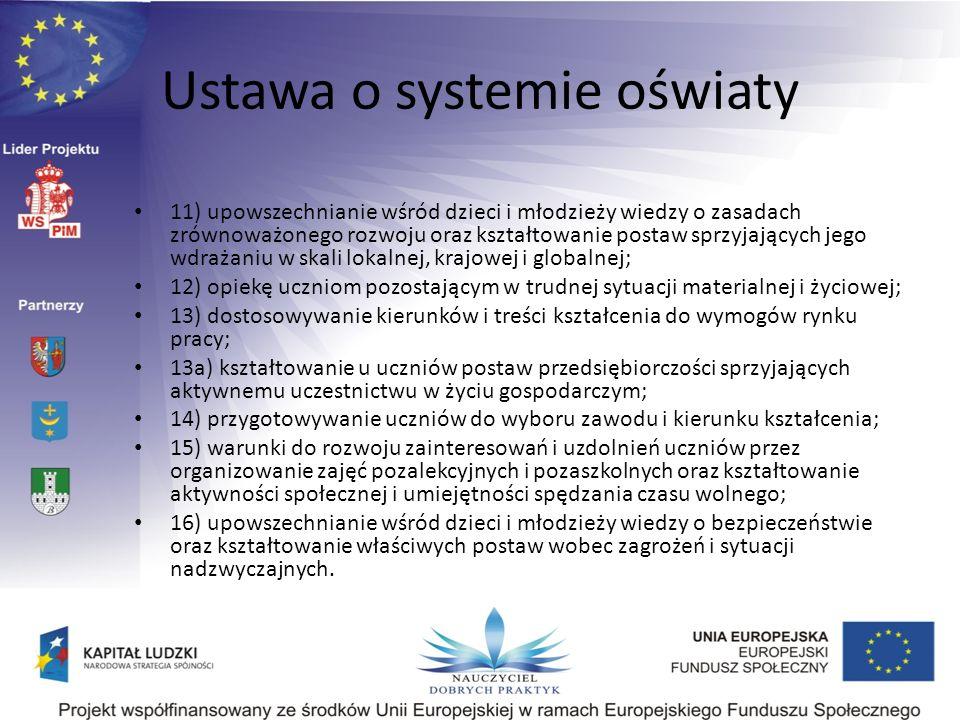 Ustawa o systemie oświaty 11) upowszechnianie wśród dzieci i młodzieży wiedzy o zasadach zrównoważonego rozwoju oraz kształtowanie postaw sprzyjającyc