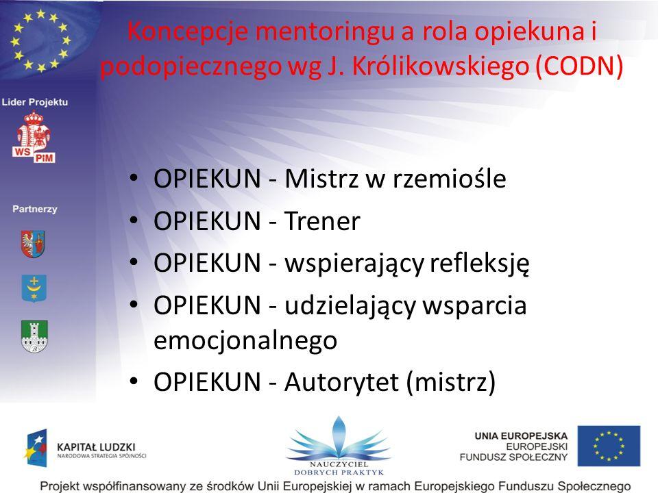 Koncepcje mentoringu a rola opiekuna i podopiecznego wg J. Królikowskiego (CODN) OPIEKUN - Mistrz w rzemiośle OPIEKUN - Trener OPIEKUN - wspierający r