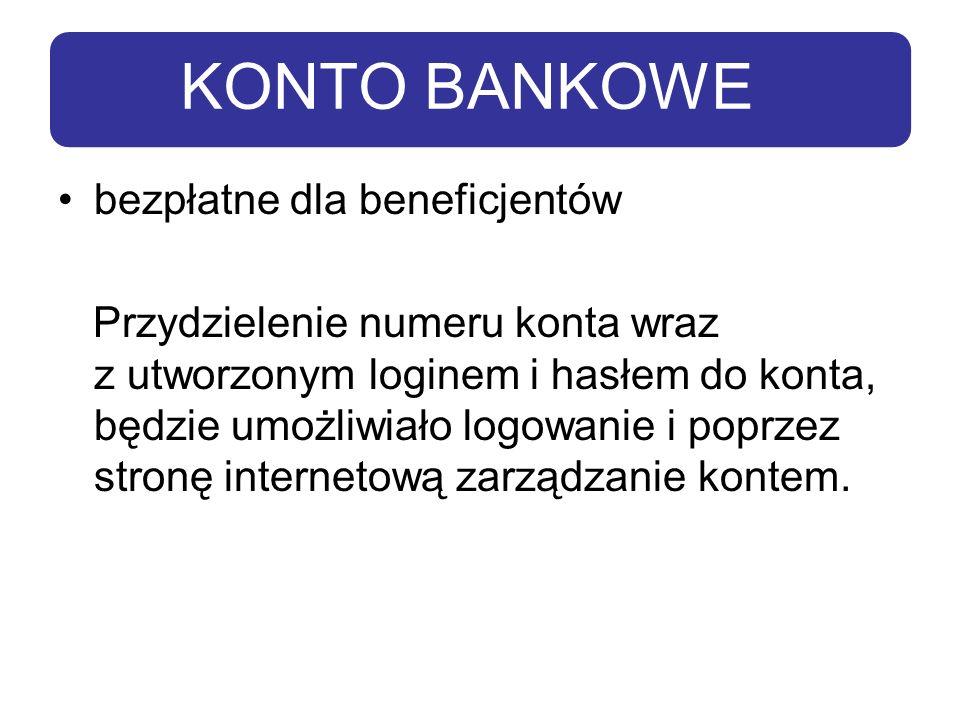 KONTO BANKOWE bezpłatne dla beneficjentów Przydzielenie numeru konta wraz z utworzonym loginem i hasłem do konta, będzie umożliwiało logowanie i poprz