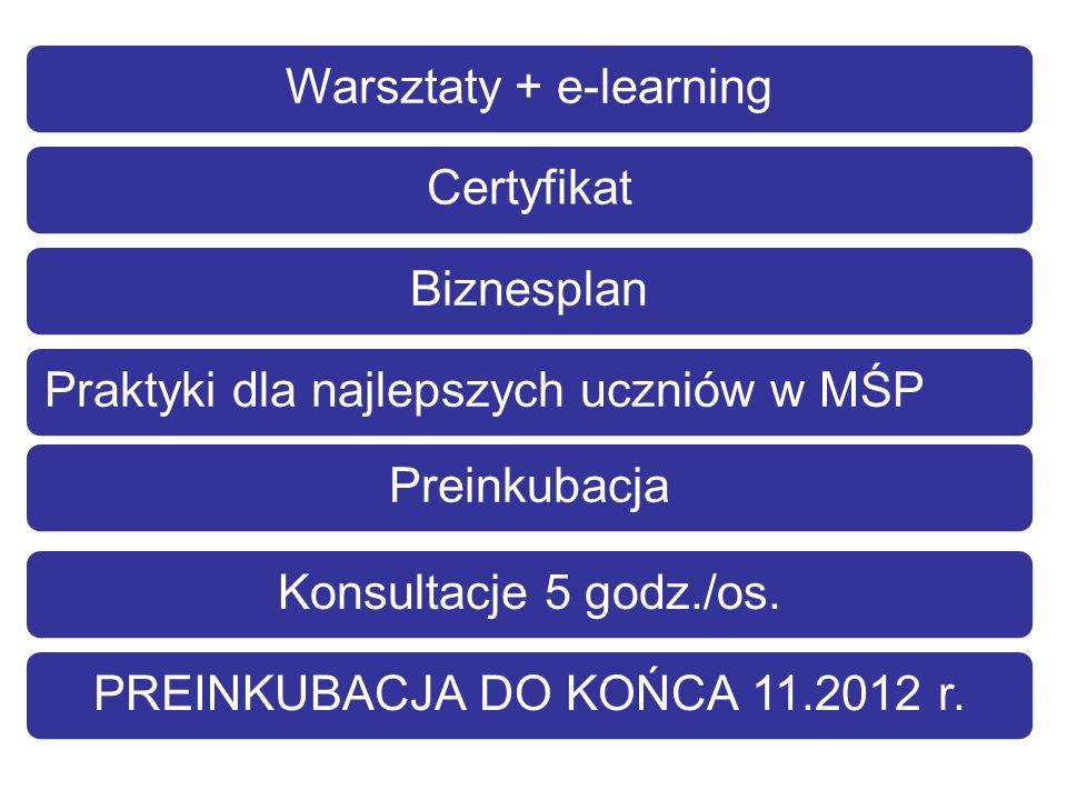 Warsztaty + e-learningCertyfikatBiznesplanPraktyki dla najlepszych uczniów w MŚPPreinkubacjaKonsultacje 5 godz./os.PREINKUBACJA DO KOŃCA 11.2012 r.