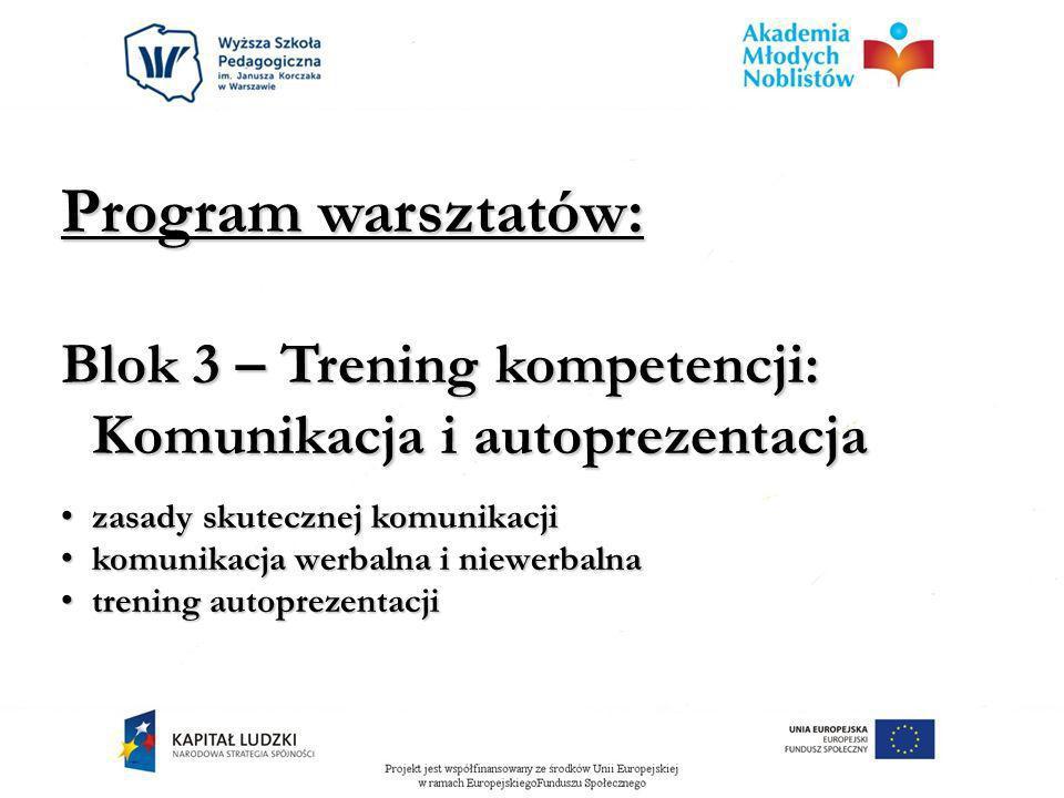 Program warsztatów: Blok 3 – Trening kompetencji: Komunikacja i autoprezentacja zasady skutecznej komunikacji zasady skutecznej komunikacji komunikacj