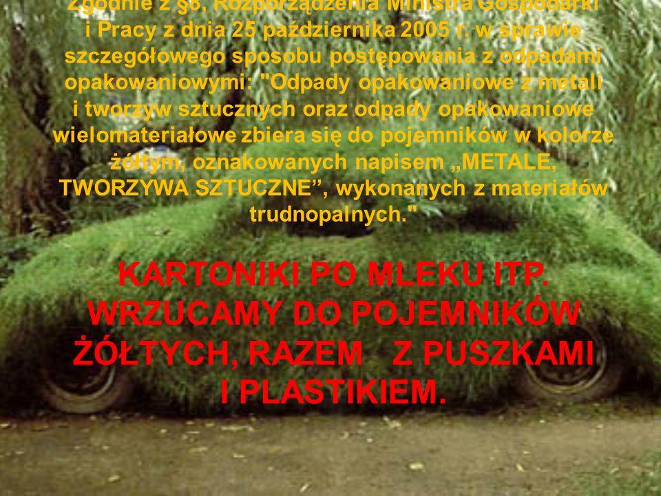 Zgodnie z §8, Rozporządzenia Ministra Gospodarki i Pracy z dnia 25 października 2005 r. w sprawie szczegółowego sposobu postępowania z odpadami opakow