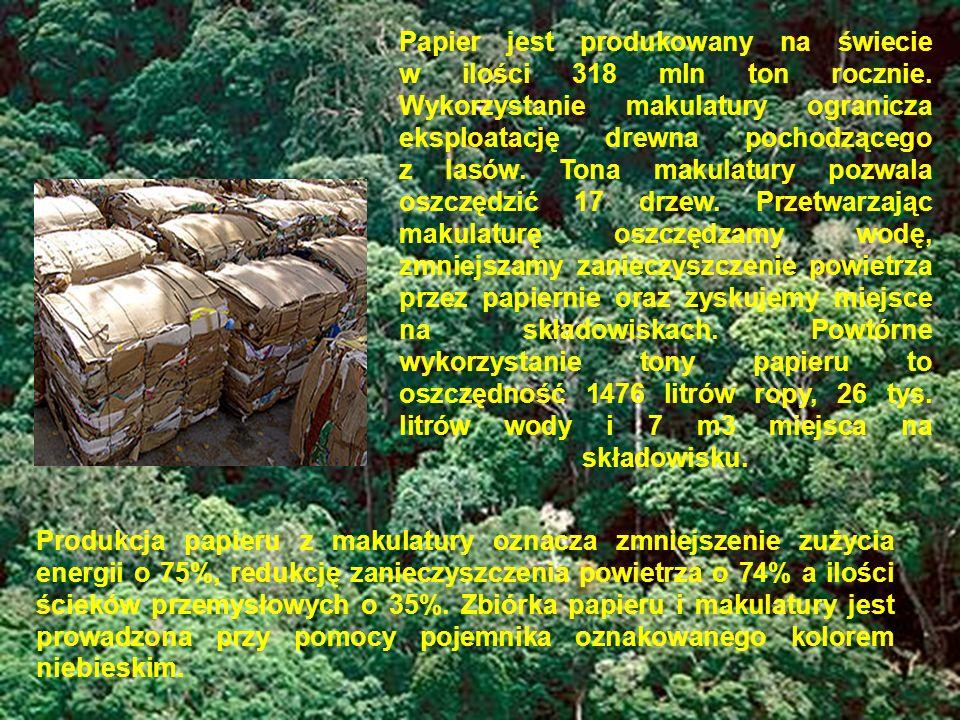 Papier jest produkowany na świecie w ilości 318 mln ton rocznie. Wykorzystanie makulatury ogranicza eksploatację drewna pochodzącego z lasów. Tona mak